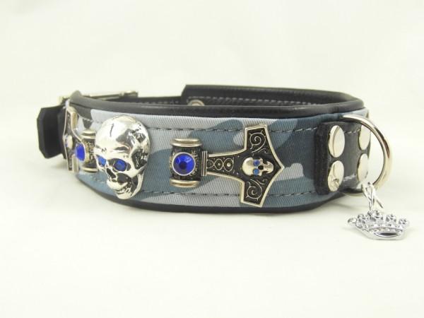 """""""Blue Camou"""" Luxus Hundehalsband mit Totenköpfen"""
