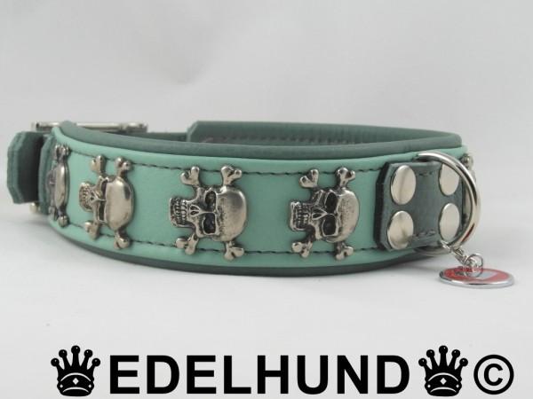 "Luxus Hundehalsband aus Leder ""Minty Skull"""