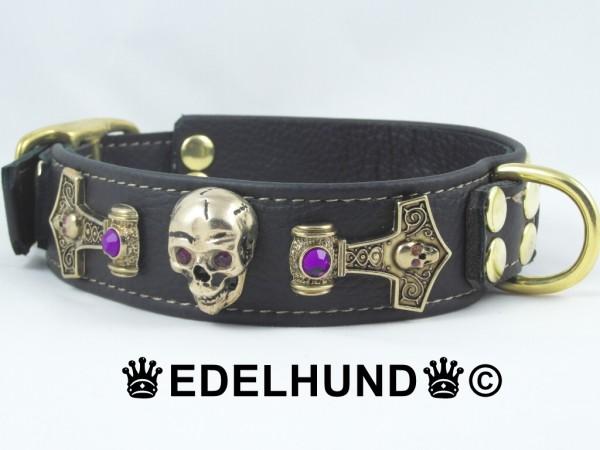 """Luxus Hundehalsband mit goldenen Totenköpfen """"Aurum"""""""
