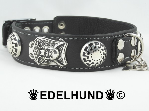 """Luxus Hundehalsband aus Leder """"Silver Pirate"""""""