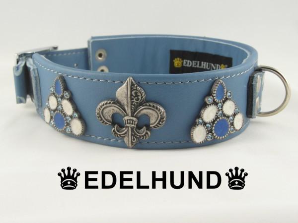 "Luxus Hundehalsband aus Leder ""Blue Sky"""