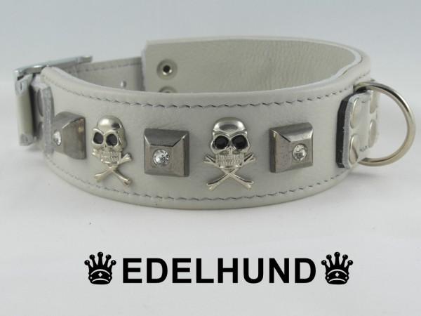 """Luxus Hundehalsband aus Leder """"White Skull"""""""