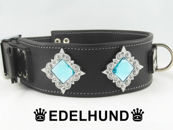 "Edel Hundehalsband aus Leder mit Strass ""Alpha"""