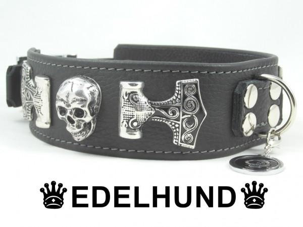 "Luxus Hundehalsband aus Leder ""Night Skull"""