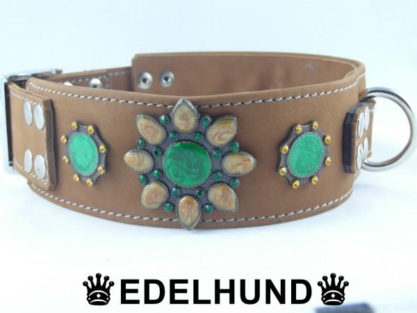 "Luxus Hundehalsband aus Leder ""Smaragd"""