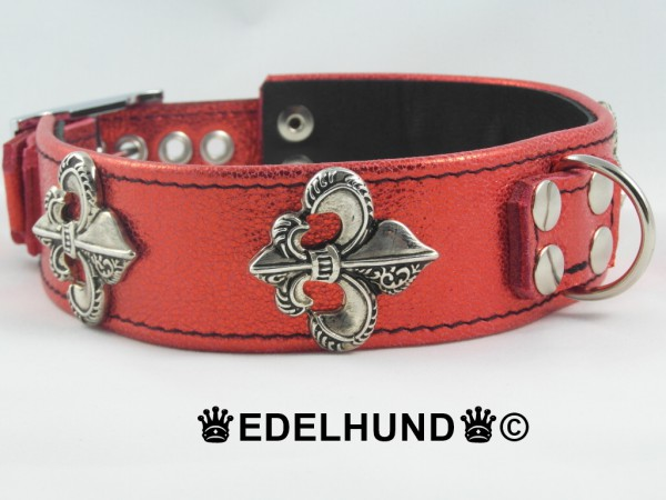 "Glitzernes Hundehalsband aus Leder ""Red Baron"""