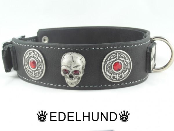 """Luxus Hundehalsband aus Leder Skull """"Ruby Hell"""""""