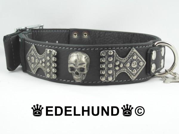 "Luxus Hundehalsband aus Leder ""Skull-Inferno"""