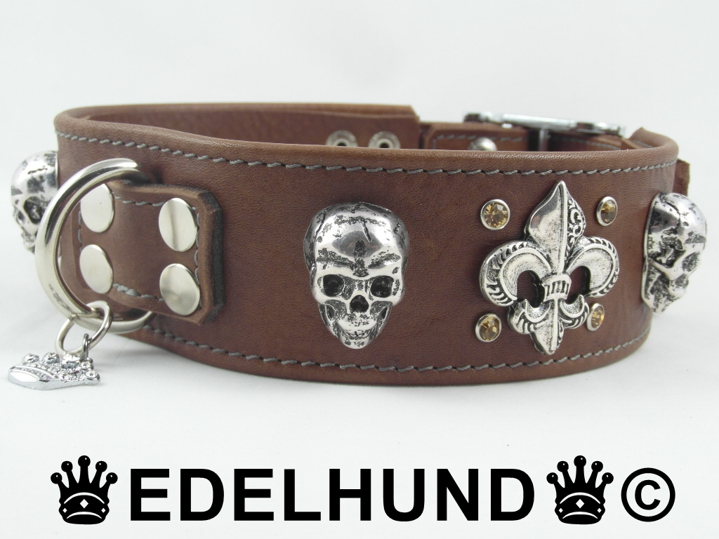 Exklusives Hundehalsband mit Totenkopf