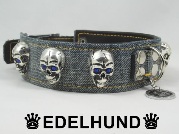 """Exklusives Hundehalsband Denim """"Skull Jeans"""""""