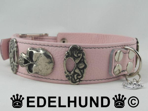 Rosa Leder Hundehalsband mit Totenkopf