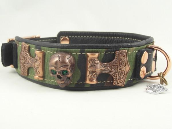 "Luxus Hundehalsband aus Leder ""Copper Camouflage"""