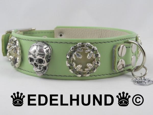 """Luxus Hundehalsband aus Leder """"Moonstone Skull"""""""