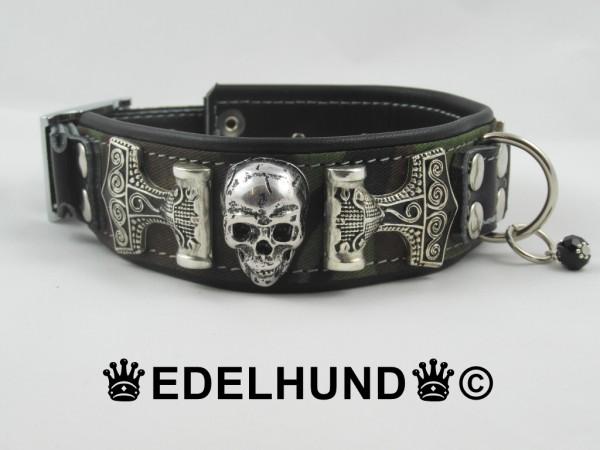 "Luxus Hundehalsband aus Leder ""Army-Skull"""