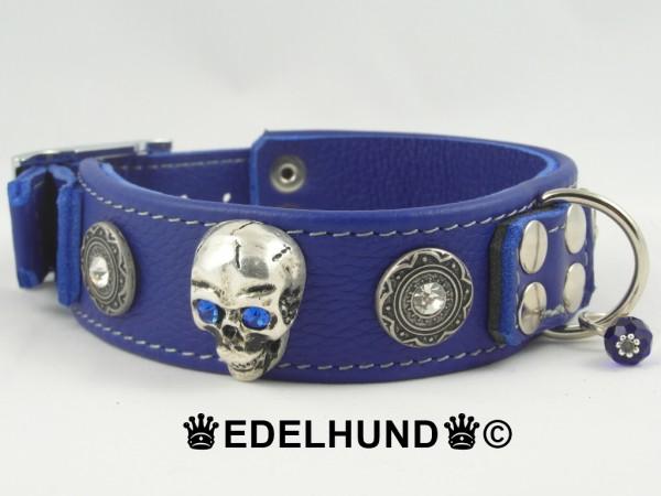 "Exklusives Totenkopf-Hundehalsband aus Leder ""Purple Riot"""