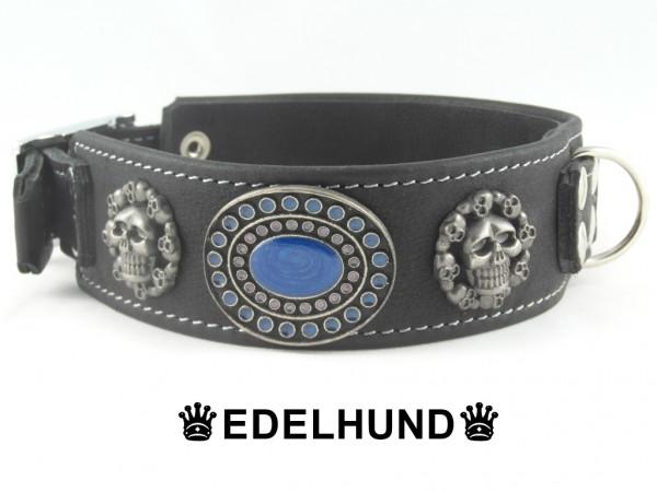 "Exklusives Hundehalsband mit Totenkopf ""Blue Hell"""
